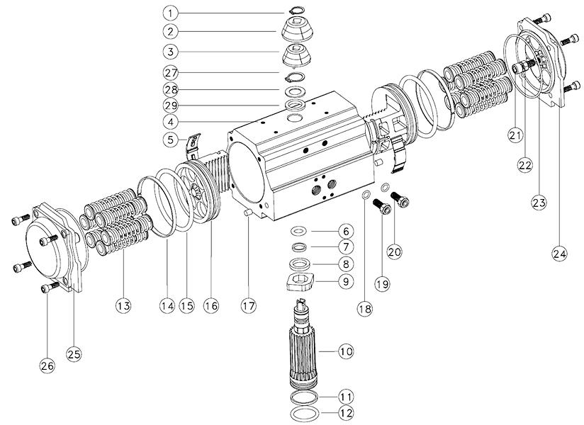 actuador neumatico de aluminio referencias a