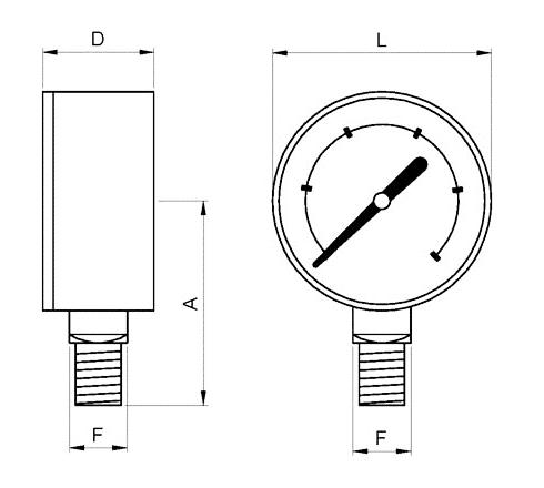 manometro o100 con glicerina salida inferior rosca bsp referencias