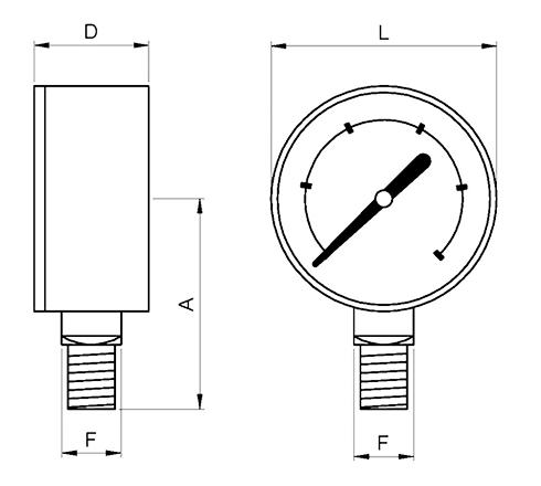 manometro o63 conexion radial inferior glicerina referencias