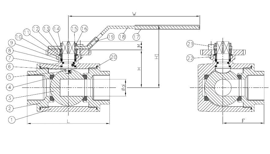 valvula de esfera de tres vias referencias