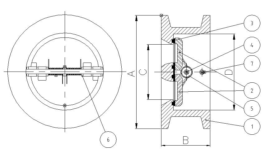 valvula de retencion tipo wafer de doble disco referencias