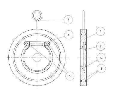 valvula de retencion tipo wafer de simple disco referencias a